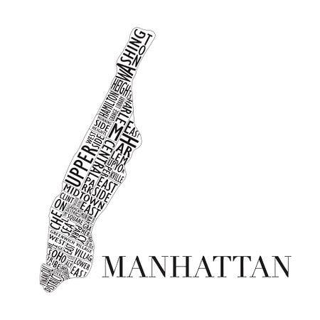 Map of Manhattan in words