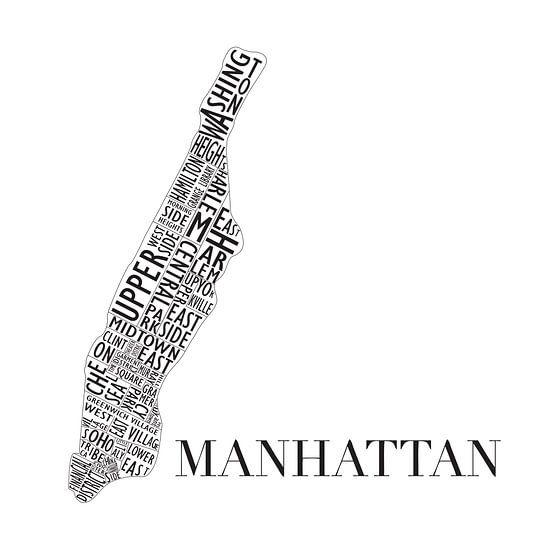Plattegrond Manhattan in woorden van  MuurBabbels Typographic Design