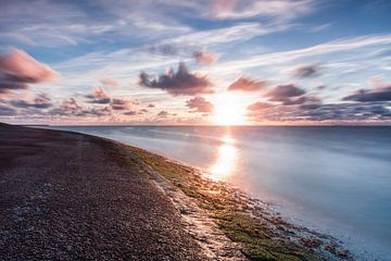 Zonsondergang over de Waddenzee sur