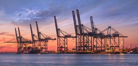 Containerterminal in blauw en rood gekleurde zonsondergang