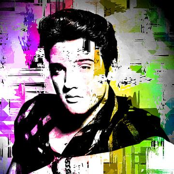 Elvis Presley Abstract Pop Art Portret in  Roze Geel Groen van Art By Dominic