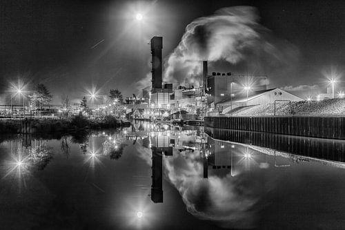 Suikerunie fabriek Vierverlaten Hoogkerk bij Groningen (zwart-wit)