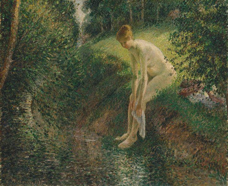 Badende im Wald, Camille Pissarro von Meesterlijcke Meesters
