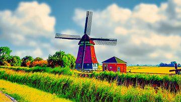 Poldermolen en rietkraag van Digital Art Nederland