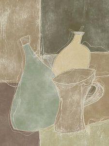 Stilleben in Brauntönen und einigen Grüntönen