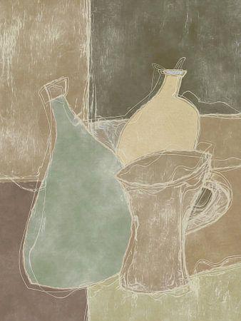 Stilleven in bruintinten en wat groens van Joost Hogervorst