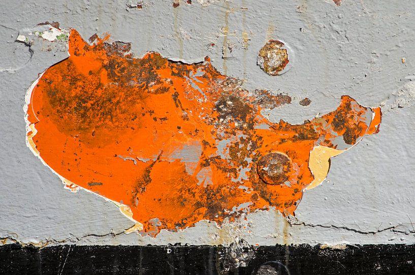 Kaart van de Verenigde Staten op een scheepsromp van Frans Blok