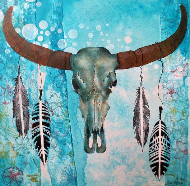 skull veren (grafisch) van Helma van der Zwan