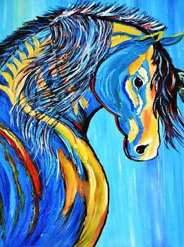 Blauw Indisch Paard van Kathleen Artist Fine Art