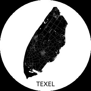 Texel Landkaart | Zwartwit | Wandcirkel van Wereldkaarten.Shop