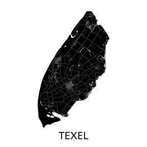 Texel Landkaart   Zwartwit   Wandcirkel