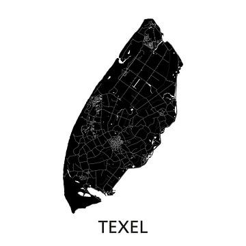 Texel Landkaart | Zwartwit | Wandcirkel