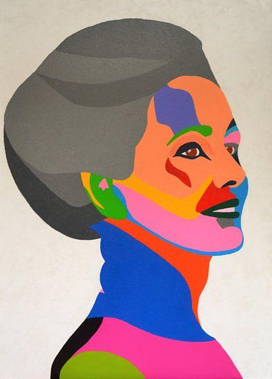 Mrs., schilderij van een statige dame.  van Freek van der Hoeve