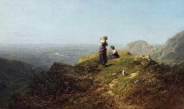 Blick ins Tal (zwei Mädchen auf einem alpinen Berg), CARL SPITZWEG, um 1860 von Atelier Liesjes