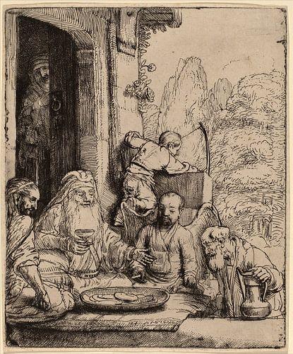 Rembrandt van Rijn  Abraham, unterhaltung der Engel von Rembrandt van Rijn