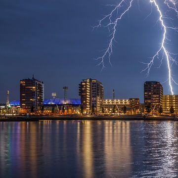 Stadion Feyenoord met onweer 7 van John Ouwens