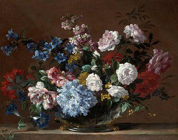 Stillleben mit Hyazinthen, Rosen und anderen Blumen in einer Silbervase, Jean- Baptiste Monnoyer