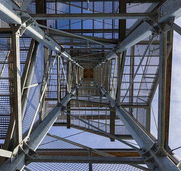 Bovenaan een uitkijktoren. van Gottfried Carls