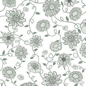 Modernes England - weiß-grüne Blumen von Studio Hinte