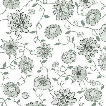 Modern Engeland - wit groen bloemen van Studio Hinte
