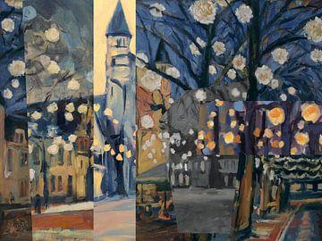 Party-Lichter auf dem Platz von Nop Briex