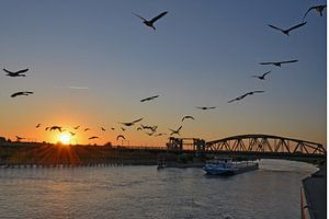 De IJssel bij zonsondergang van