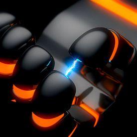 Roboterhand mit Lichtbogen von Jörg Hausmann