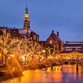 Leiden, Nieuwe Rijn bij avond van Frans Blok