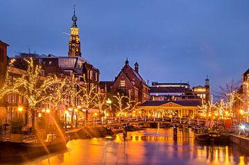 Leiden, Nieuwe Rijn bij avond van