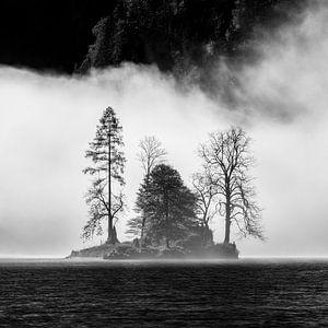 Eiland in mist in de Königssee