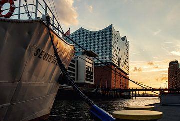 Motor ship Seute Deern in front of Elbphilharmonie building van Stefan Heesch