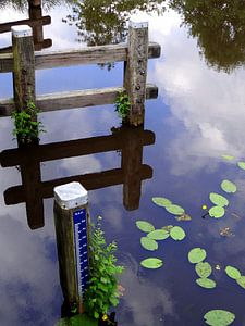 Weerspiegeling in water. Reflection in water. van