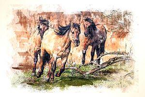 Laufende Konik-Pferde (Kunst)