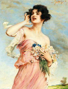 leopold schmutzler, Junge Schönheit mit Blumenstrauss von Atelier Liesjes