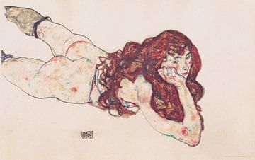 Auf dem Bauch liegender weiblicher Akt, Egon Schiele - 1917 von Atelier Liesjes