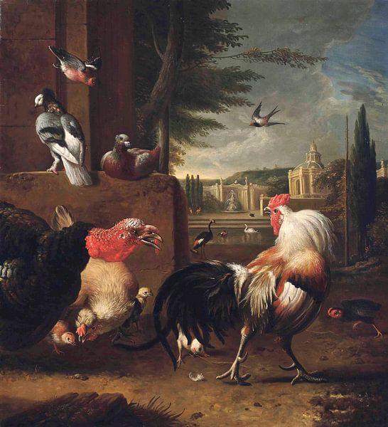 Een haan, een kalkoen en andere vogels in een landschap, een elegante binnenplaats daarachter, Melch van Meesterlijcke Meesters