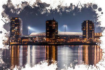 "Feyenoord ART Rotterdam Stadion ""De Kuip"" Nachtbeeld van MS Fotografie | Marc van der Stelt"