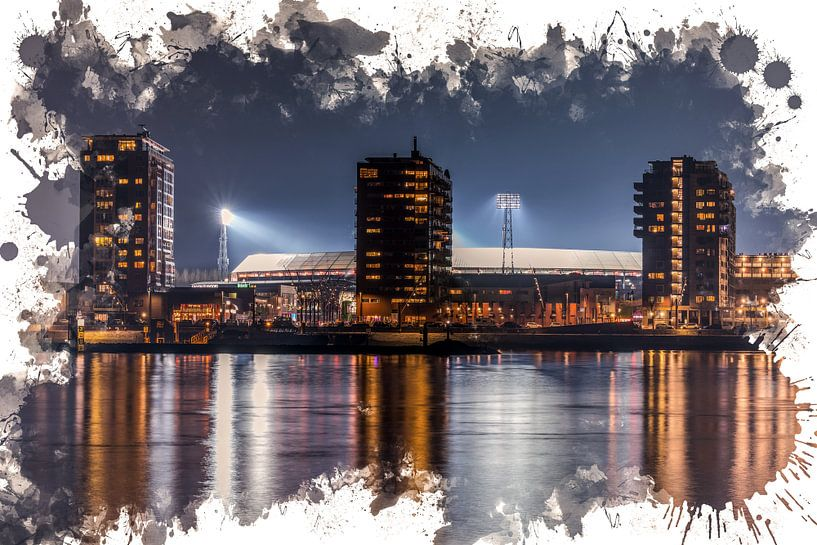 "Feyenoord ART Rotterdam Stadion ""De Kuip"" Nachtbeeld van MS Fotografie   Marc van der Stelt"