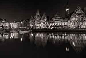 De Graslei in Gent bij nacht