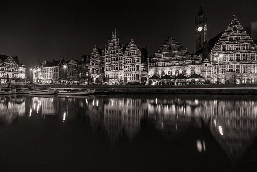 De Graslei in Gent bij nacht van MS Fotografie   Marc van der Stelt