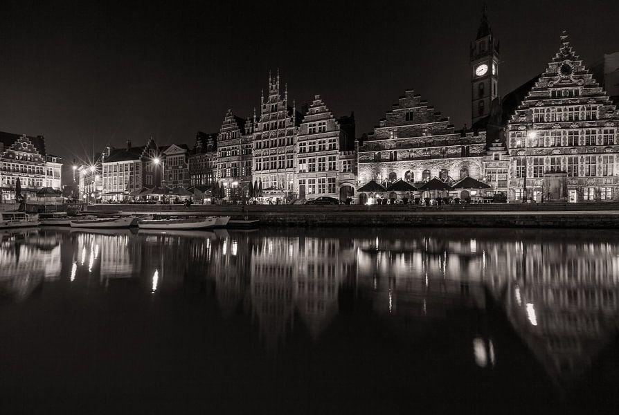 De Graslei in Gent bij nacht van MS Fotografie