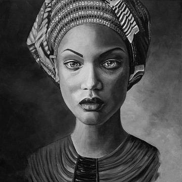 Schilderij van een vrouw met hoofddoek, zwart wit van Bianca ter Riet