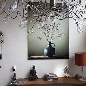 Kundenfoto: Blaue Vase mit Beeren von Karin Bazuin, auf alu-dibond