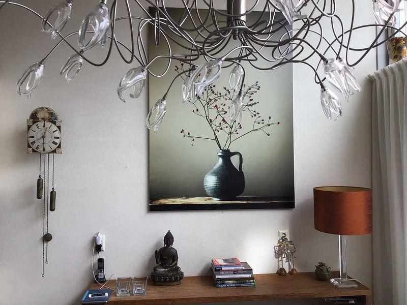 Kundenfoto: Blaue Vase mit Beeren von Karin Bazuin