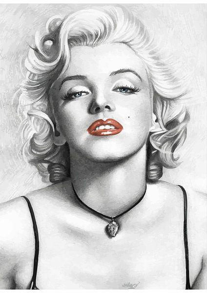 Pinup Marilyn Monroe in schwarz-weiß mit knallroten Lippen von Atelier Liesjes