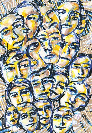 menigte van mensen van Eva van den Hamsvoort