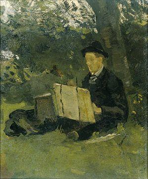 Jan Verkade schilderend onder een boom in Hattem, Richard Nicolaüs Roland Holst, 1891