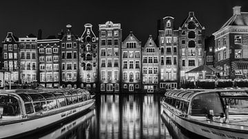 Damrak Amsterdam en noir et blanc sur Mirjam Boerhoop - Oudenaarden
