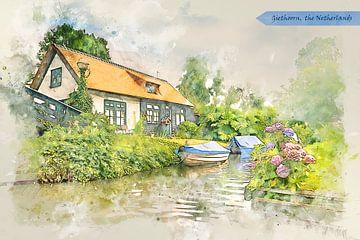 dorp Giethoorn, Nederland, in aquarel schets stijl van Ariadna de Raadt-Goldberg