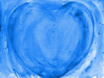 Herz blau van Katrin Behr